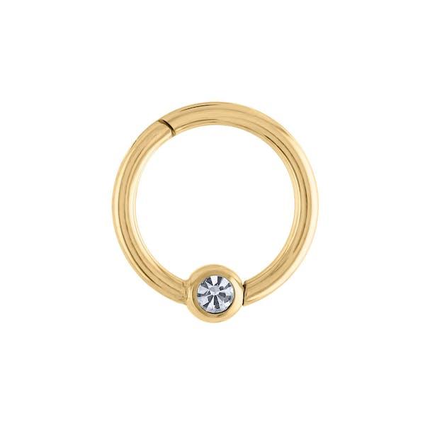 Orbital Crystal Cartilage Hoop in Gold