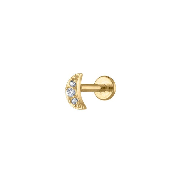 Pave Moon Threaded Flat Back Earring