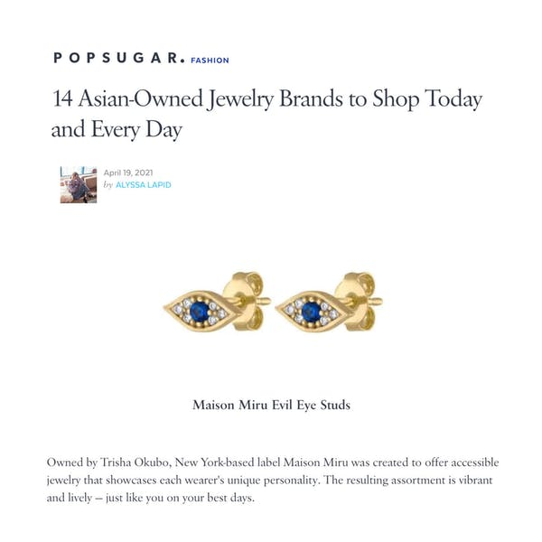 Our Evil Eye Studs as seen on PopSugar Fashion