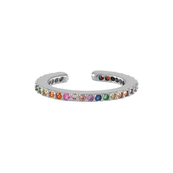 Rainbow Eternity Ear Cuff in Sterling Silver