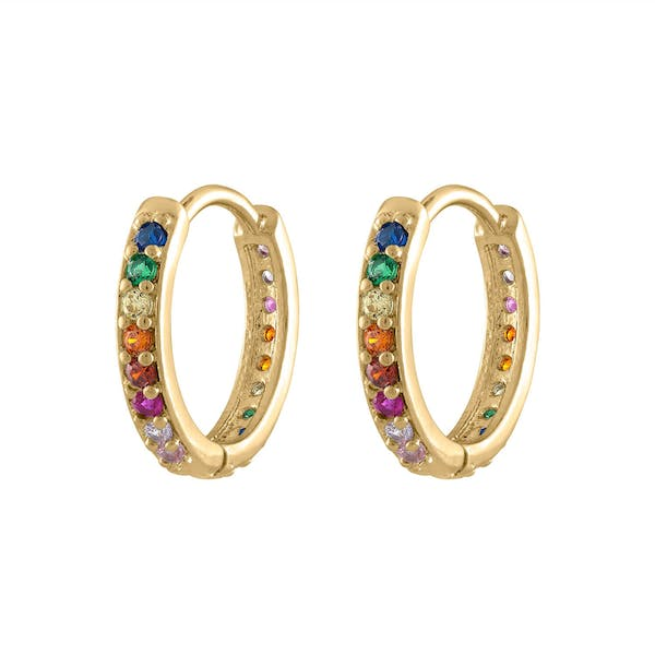 Rainbow Eternity Hoop Earrings