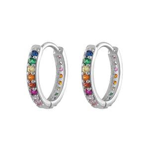 Rainbow Eternity Hoop Earrings in Sterling Silver