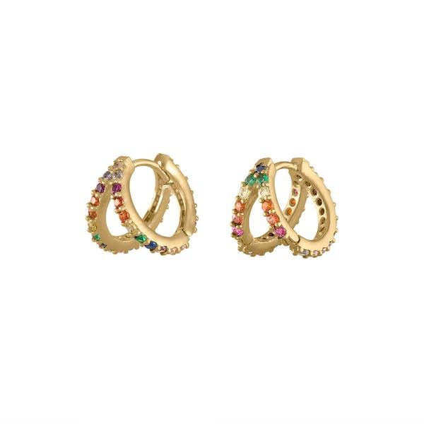 Rainbow Infinite Huggie Earrings