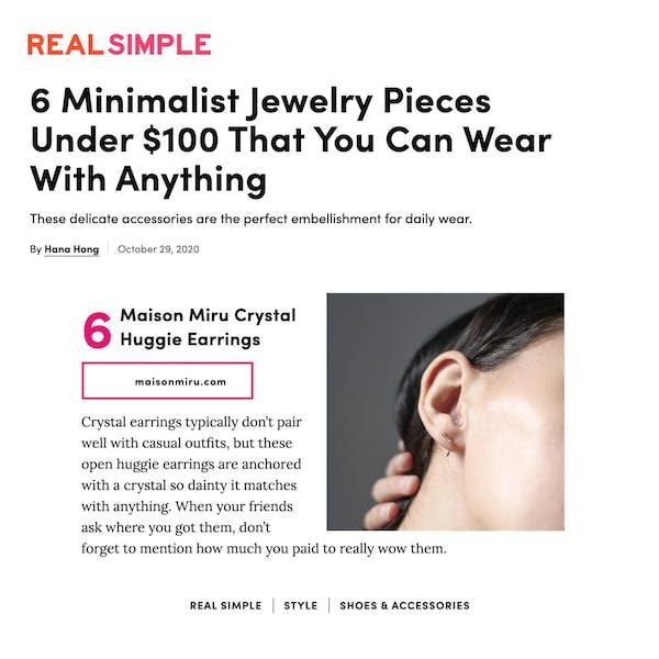 Our Crystal Huggie Earrings As Seen in Real Simple