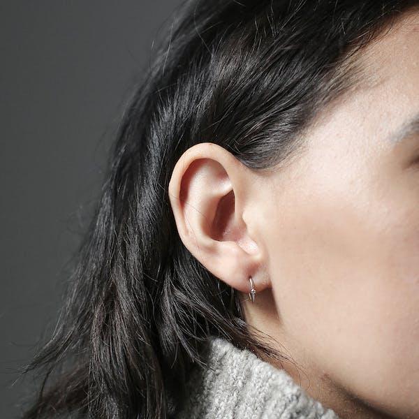 Shooting Star Open Hoop Earrings in Sterling Silver at Maison Miru Jewelry @maisonmiru