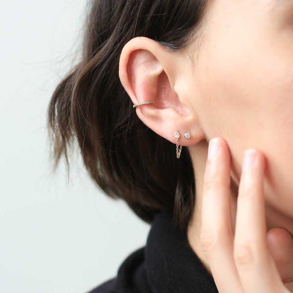 Colette Earrings in 14k Gold on model
