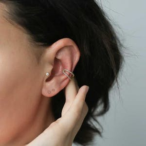 Tiny Crystal Push Pin Flat Back Earring on model