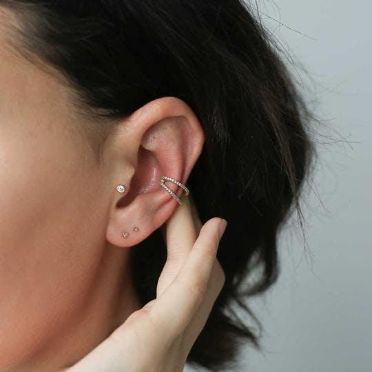 Tiny Trinity Push Pin Flat Back Earring in Gold on model