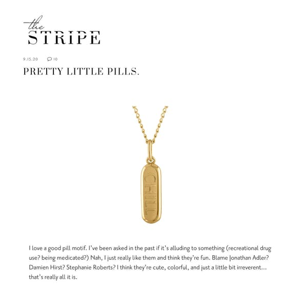 Chill Pill Charm Necklace as seen on The Stripe