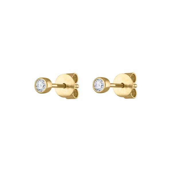 Tiny Diamond Studs in 14K Gold