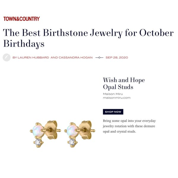 Wish and Hope Opal Studs as Seen in Town & Country
