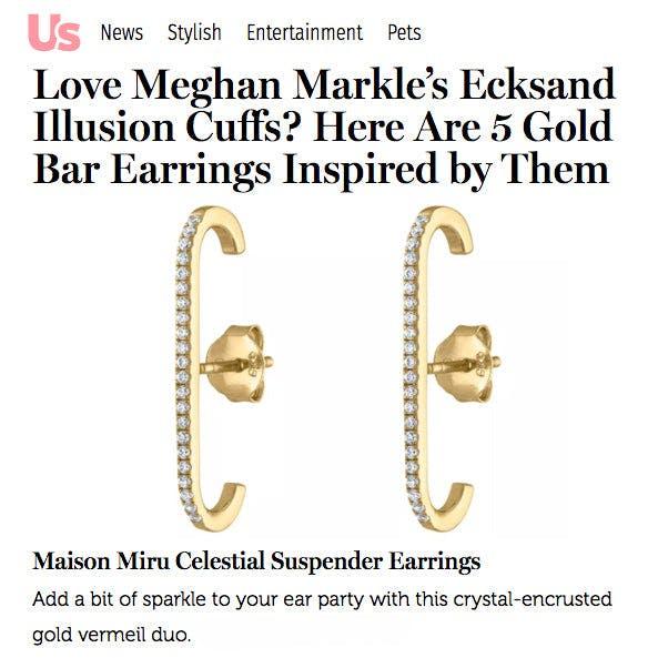 Celestial Suspender Earrings in Gold Vermeil as seen on US