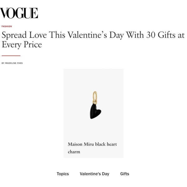 Our Black Heart Charm as seen in Vogue
