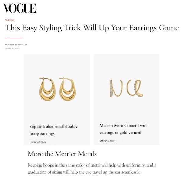 Comet Twirl Earrings as seen in Vogue