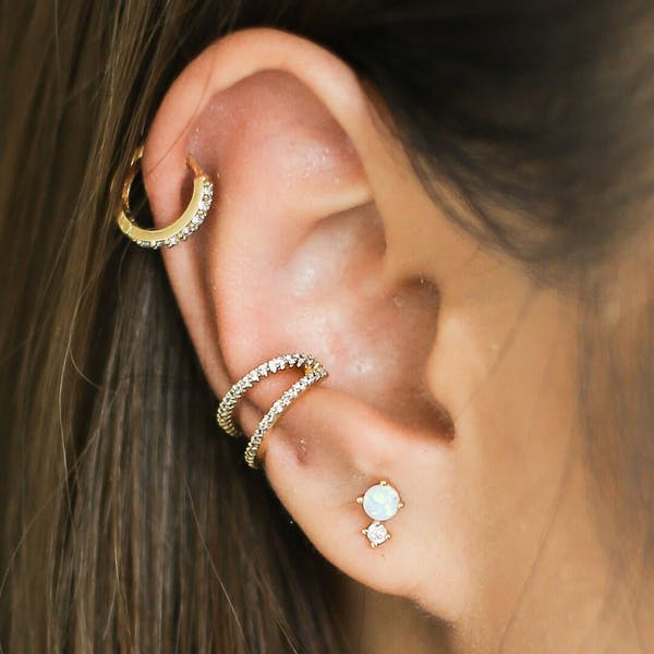 Wish and Hope Opal Studs on model
