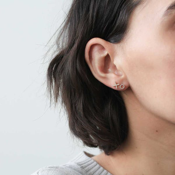 Pave X and O Studs on model