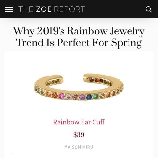 Rainbow Eternity Ear Cuff in Sterling Silver as seen on TheZoeReport