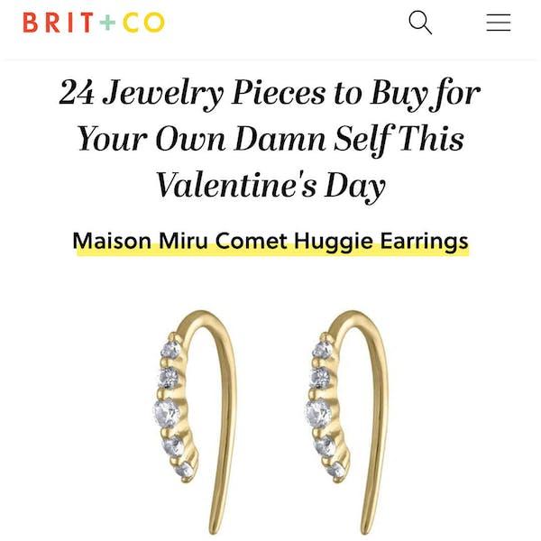 Our Comet Huggie Earrings in 14K Gold as seen on Brit+Co