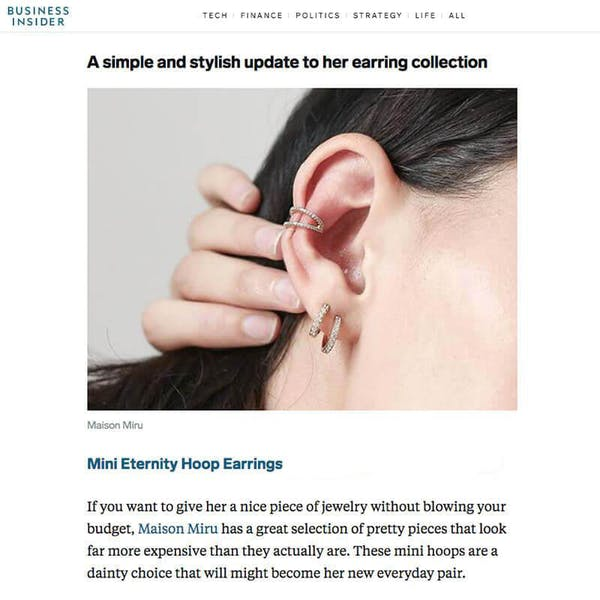 Mini Eternity Hoop Earrings as seen on Business Insider
