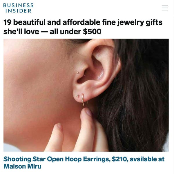 Shooting Star Open Hoops in 14K Gold as seen on Business Insider