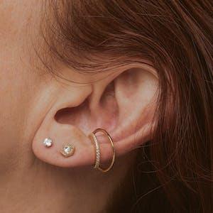 Celestial Crystal Threaded Flat Back Earring on model (Titanium - Gold)
