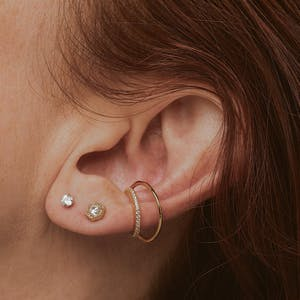 Celestial Crystal Push Pin Flat Back Earring on model (Titanium - Gold)