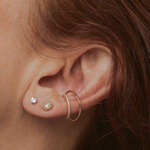 Celestial Crystal Nap Earrings on model