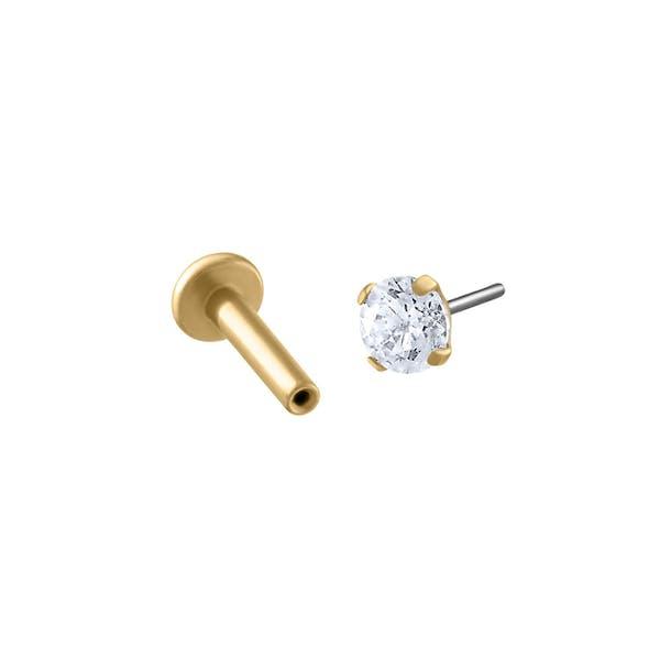 Celestial Crystal Push Pin Flat Back Earring in Gold
