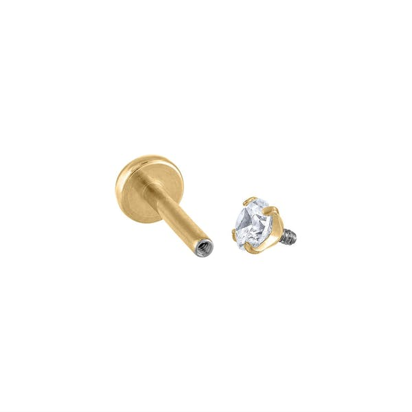 Celestial Crystal Threaded Flat Back Earring (Titanium - Gold)