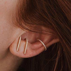 Celestial Hook Earrings in Sterling Silver on model