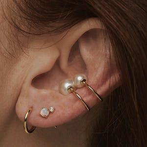 Tiny Pearl Ear Cuff Duo on model