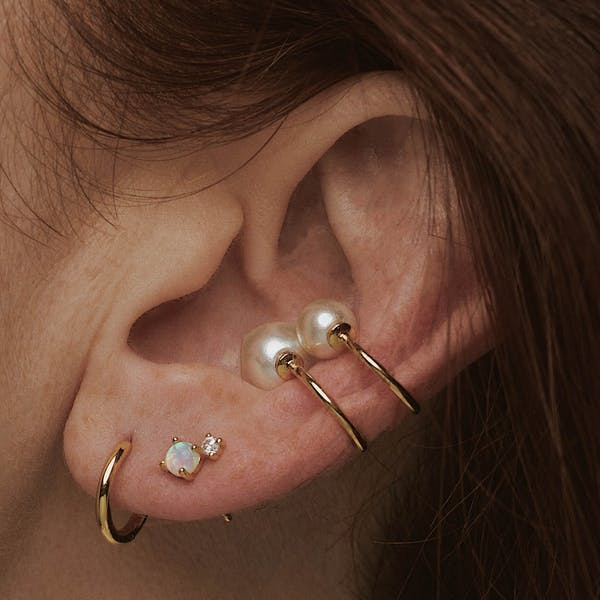 Tiny Pearl Ear Cuff Duo on model