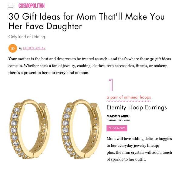 Eternity Hoop Earrings in Sterling Silver as seen on Cosmopolitan