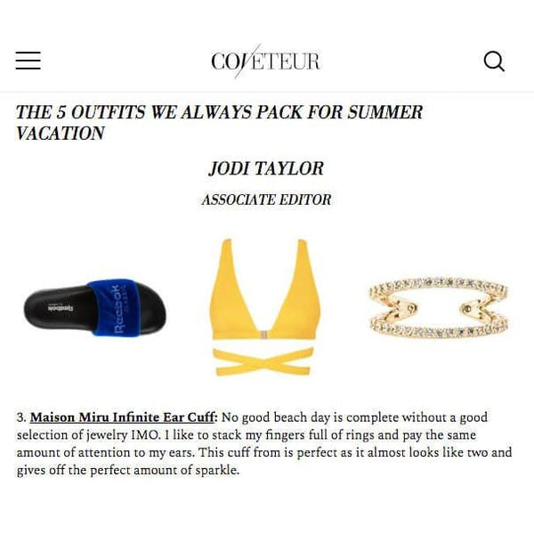 Infinite Ear Cuff in Sterling Silver on model as seen on Coveteur