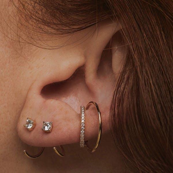 Eternity Echo Ear Cuff in Sterling Silver on model