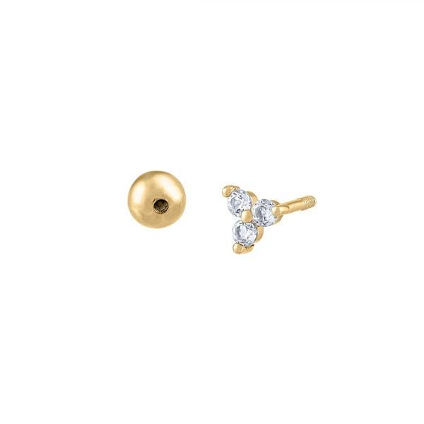 Crystal Trinity Ball Back Earrings in 14k Gold