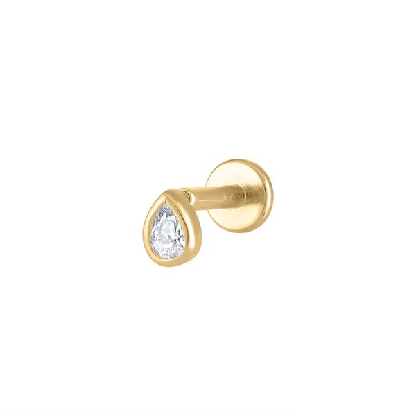 Tiny Dewdrop Threaded Flat Back Earring in Gold