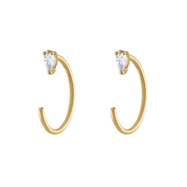 Dewdrop Huggie Earrings in 14k Gold