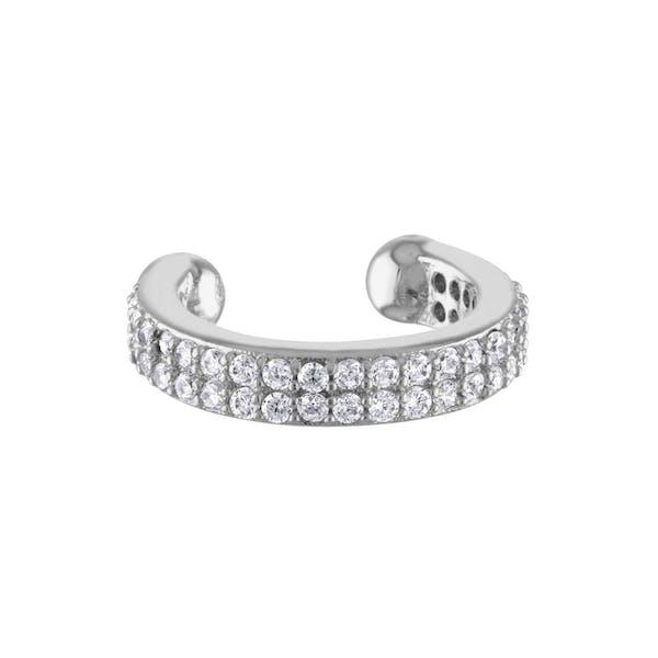 Double Eternity Arc Ear Cuff in Sterling Silver