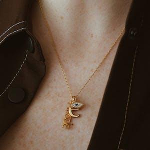 Evil Eye Charm in Gold Vermeil on model