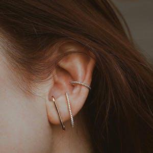 Celestial Suspender Earrings in Gold Vermeil on model