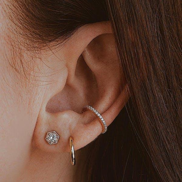 Eternity Arc Ear Cuff in Rose Gold on model