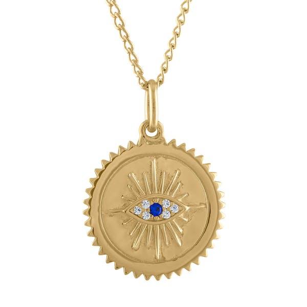 Evil Eye Medallion Necklace in Gold