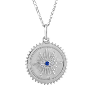 Evil Eye Medallion Necklace in Sterling Silver