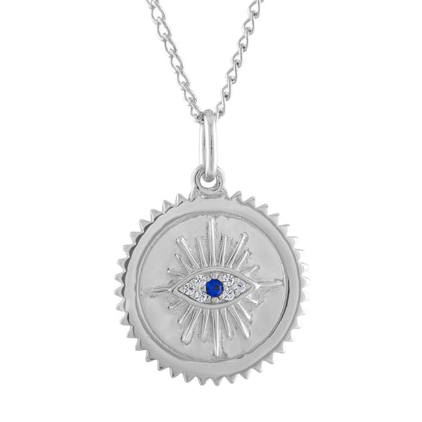 Evil Eye Medallion Necklace in Sterling Silver