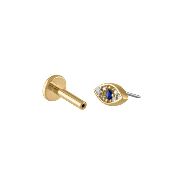Evil Eye Push Pin Flat Back Earring in Gold