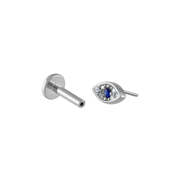 Evil Eye Push Pin Flat Back Earring in Silver
