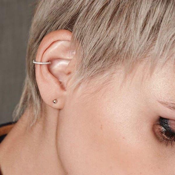 Eternity Arc Ear Cuff in Sterling Silver on model