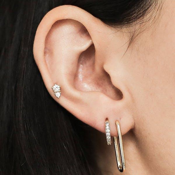 Gaia Threaded Flat Back Earring in Gold on model