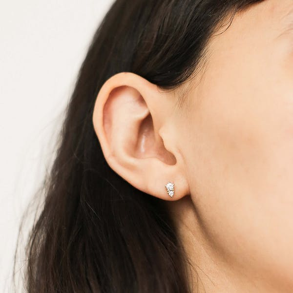 Gaia Crystal Studs on model